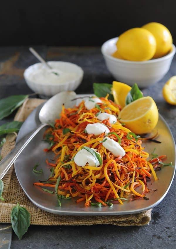 Meyer Lemon Roasted Carrot Strings | www.runningtothekitchen.com