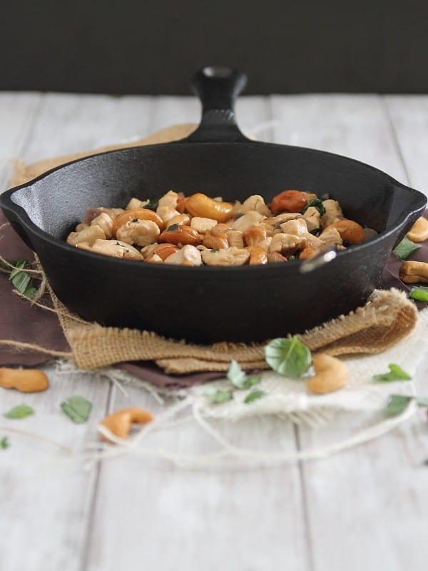 Thai Basil Cashew Chicken Skillet   www.runningtothekitchen.com