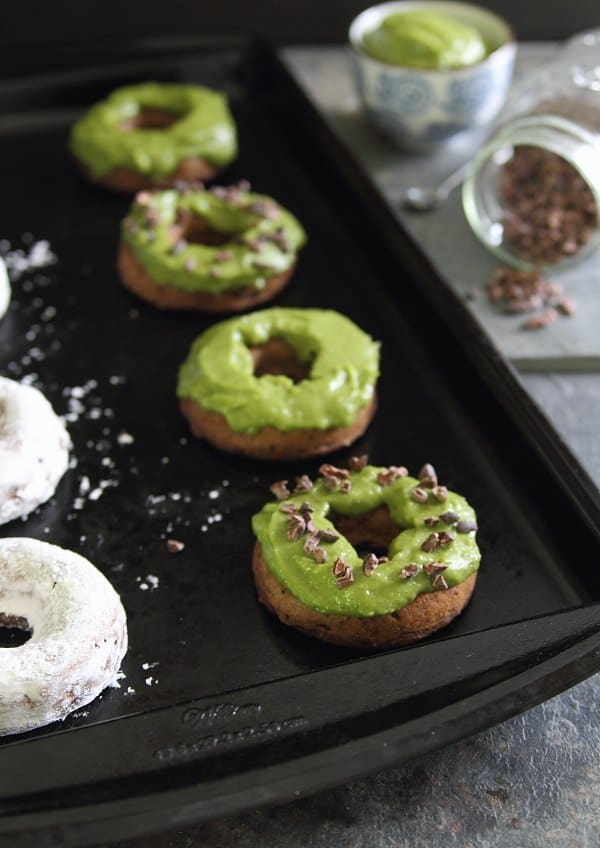 These baked chocolate avocado donuts are a healthier way to enjoy a cake donut with 2 fun topping ideas!
