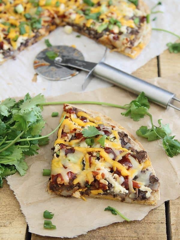 This BBQ black bean tortilla pizza makes a great appetizer or a tasty cheesy dinner.