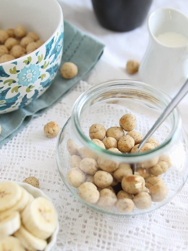 These vanilla almond cereal puffs are a fun change up to your breakfast routine.