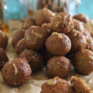 Chocolate Pumpkin Donut Holes with Amaretto Glaze