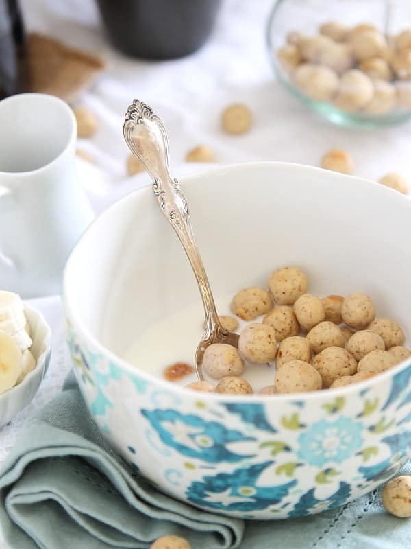 These homemade vanilla almond cereal puffs will make you twant to ditch the store bought sugar laden cereal boxes for this healthier, gluten-free option.