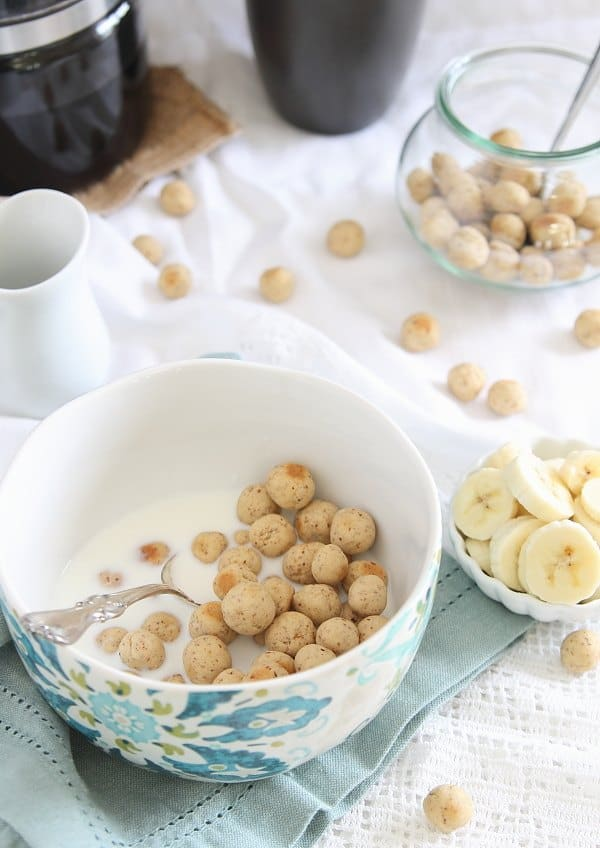 These vanilla almond cereal puffs are a healthier, gluten free option you can make at home!