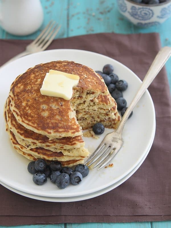 These quinoa pancakes are filled with sweet Meyer lemon flavor, the perfect stack for your wintertime breakfast.