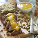 Pistachio crusted flank steak with peach puree 450x450