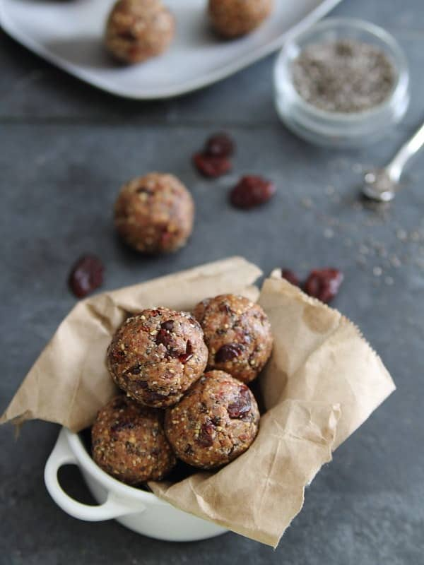 Chia Cherry Bites with cacao nibs