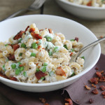 Creamy Greek Yogurt Mac n Cheese with Peas and Bacon