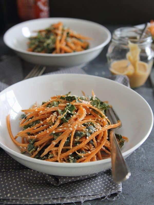 Thai Carrot and Kale Salad with Sriracha Peanut Butter Dressing