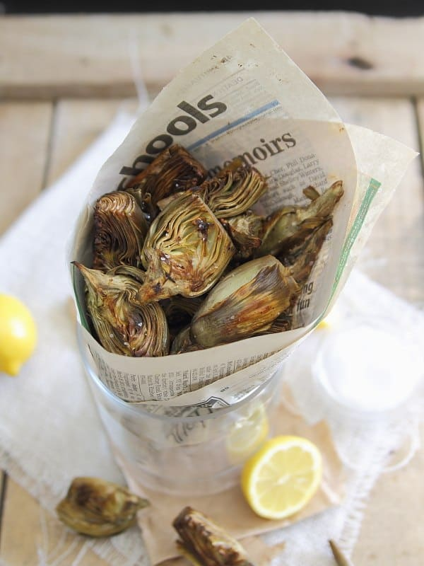 Lemon roasted baby artichokes