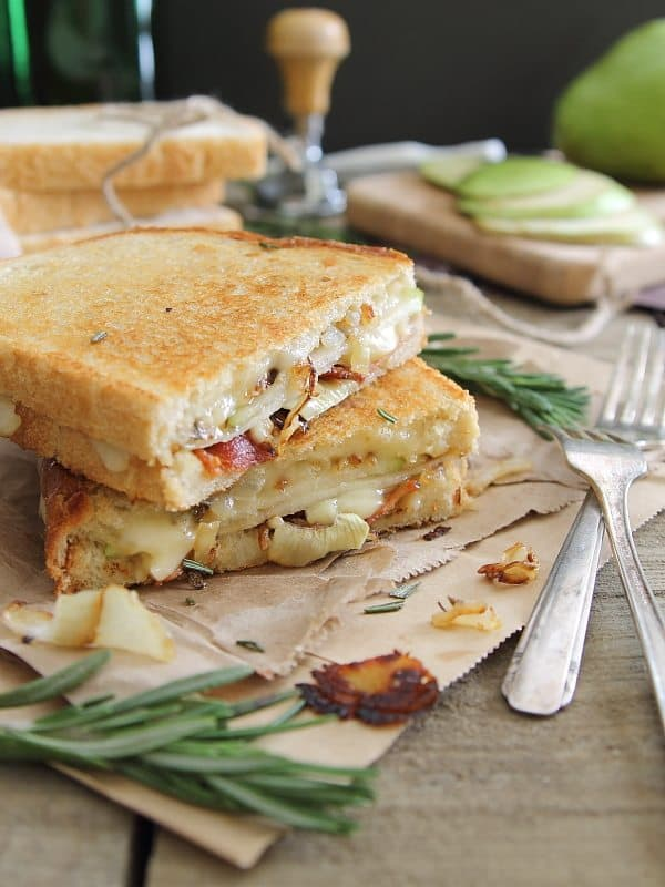 Pear Bacon and Brie Grilled Cheese on sourdough bread