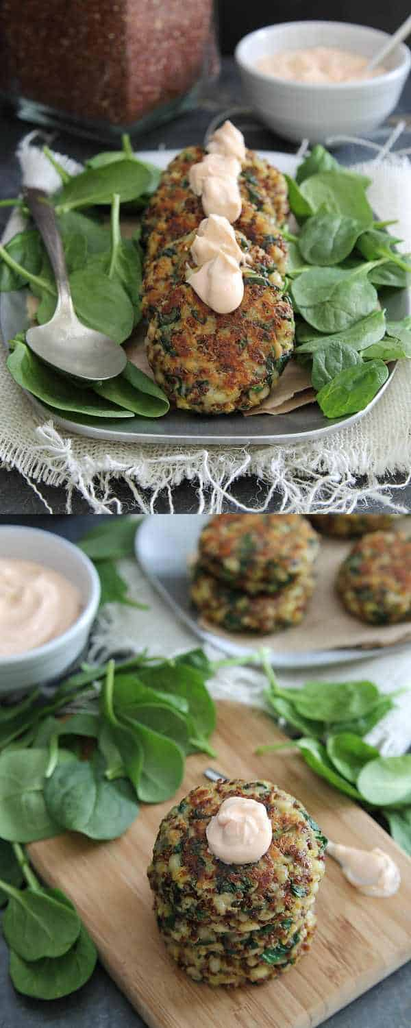 Quinoa cakes with spinach and cheddar cheese