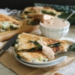 Kale quesadillas with white beans
