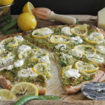 Spring pea and lemon pesto pizza