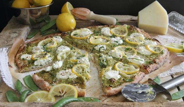 Spring Pea and Lemon Pesto Pizza
