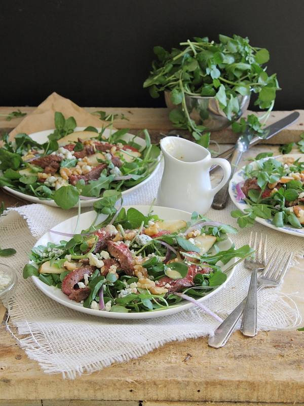 Steak, pear and watercress salad with shallot vinaigrette