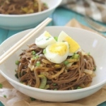 Sweet onion and leek soba noodles with hard boiled eggs