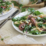 Steak, pear and watercress salad