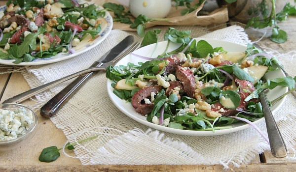Steak Pear and Watercress Salad