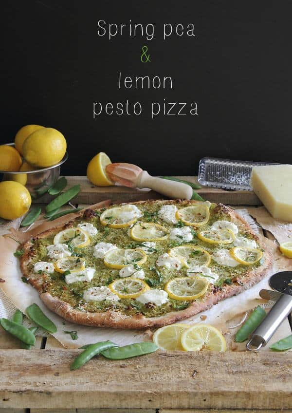 White pizza with spring pea pesto and lemons