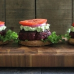 BBQ beef beet burgers with avocado goat cheese smash