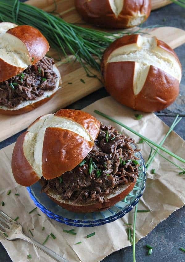 Cherry beef carnitas sandwiches