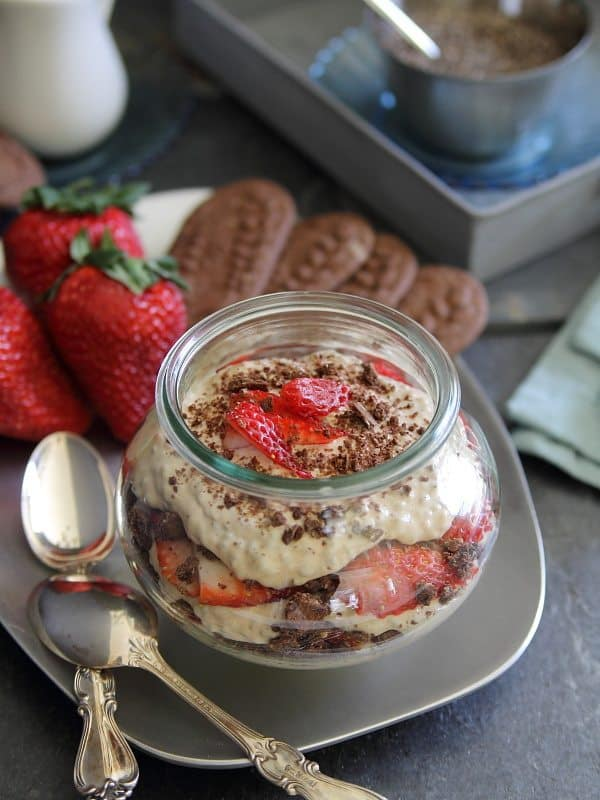 Chocolate strawberry chia coffee parfaits made with Oikos yogurt and belVita cookies