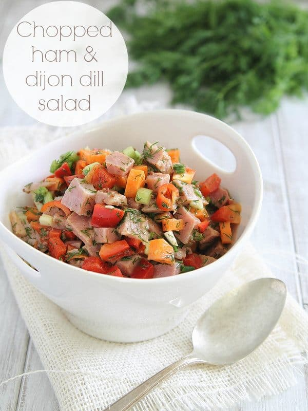 Chopped ham and dijon dill salad is a great way to use up leftover ham.