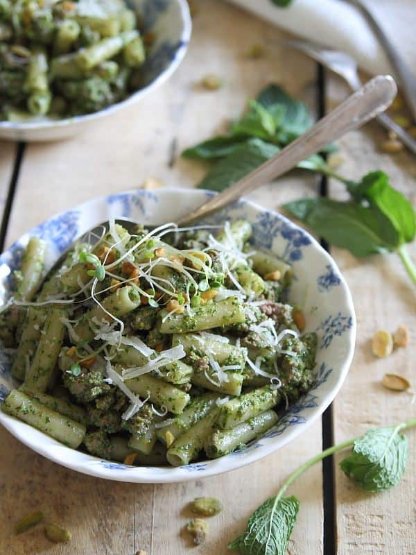 Gluten free brown rice penne with lamb and mint pesto