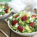 Honey roasted strawberry and feta salad