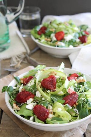 Roasted strawberry salad with feta, watercress and asparagus