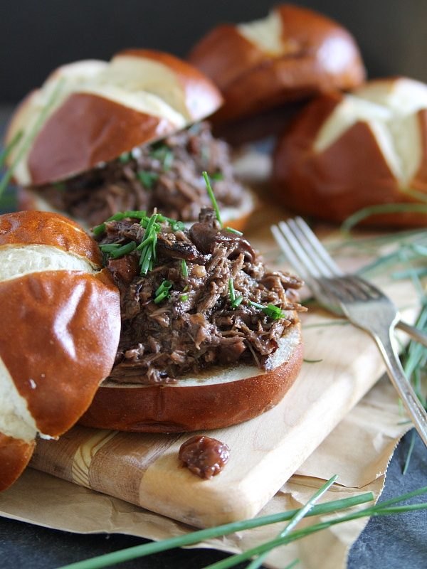 Sweet cherry pulled beef sandwiches