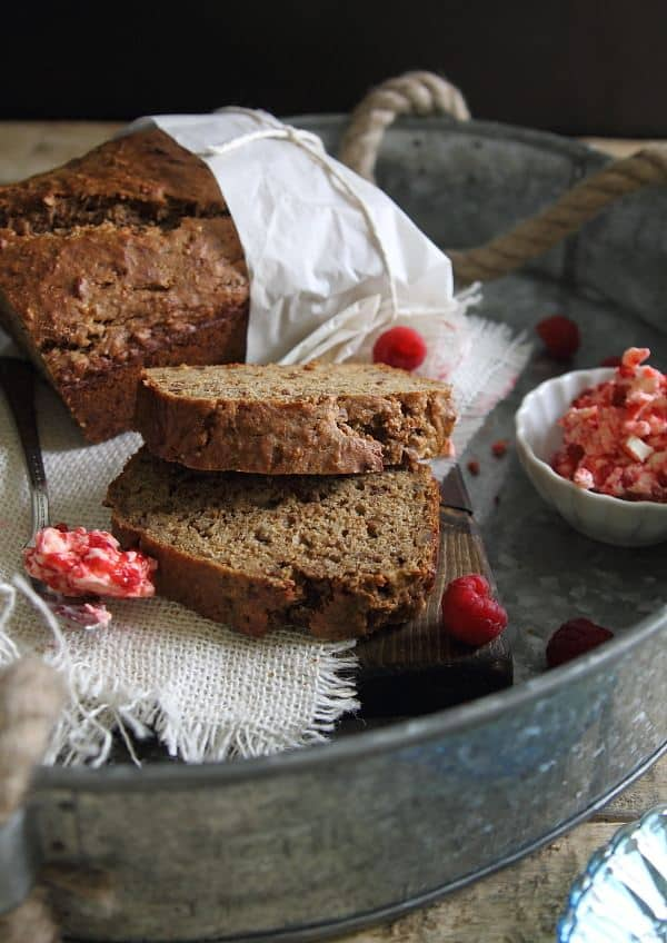 Cinnamon Sugar Banana Pecan Bread with Raspberry Butter