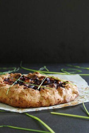 Gluten free mushroom beet and blue cheese galette