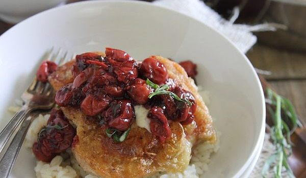 Goat Cheese Fried Chicken with Cherry Tarragon Sauce