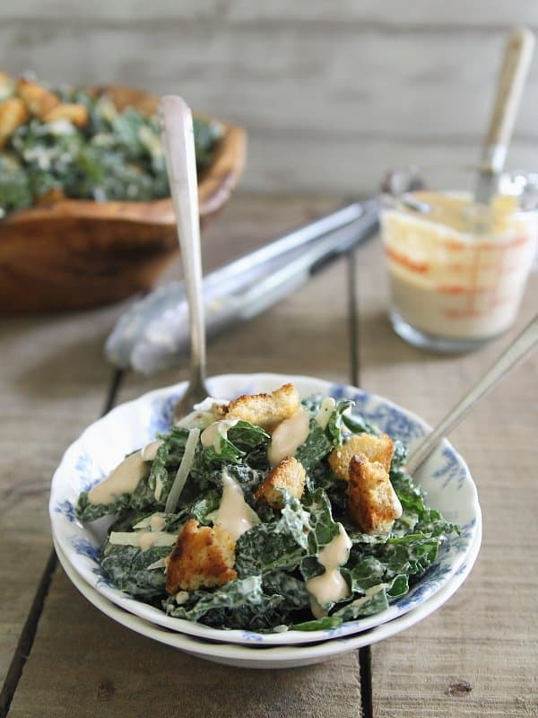 Healthy Sriracha Kale Caesar Salad