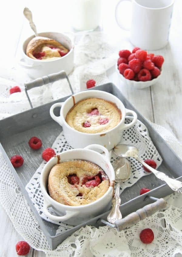 Raspberry lemon dutch babies made with gluten free flour