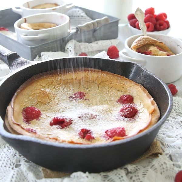 Raspberry lemon dutch baby is a fun twist on a pancake breakfast and gluten-free too!