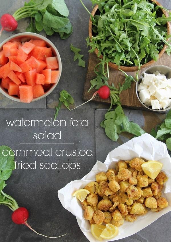 Watermelon feta salad with cornmeal crusted fried scallops