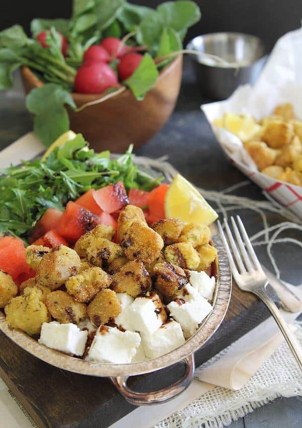 Watermelon feta salad with cornmeal crusted fried scallops