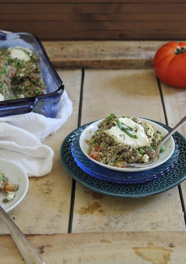 Beef pesto quinoa bake is an easy throw together dinner casserole perfect for feeding the family during the week.