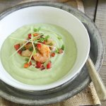 Chilled avocado soup with lime shrimp