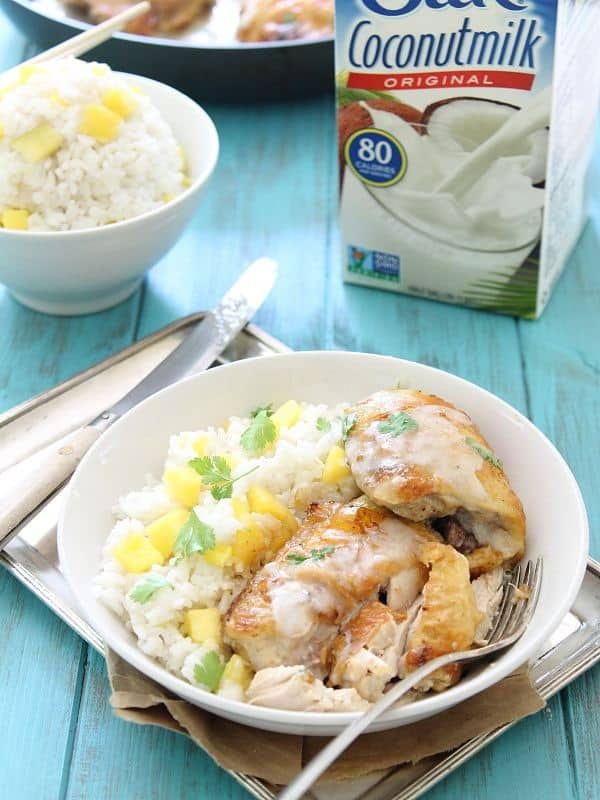 Coconut lime baked chicken with coconut mango sticky rice and coconut sauce