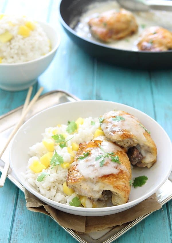 Coconut Lime Baked Chicken with Coconut Mango Sticky Rice