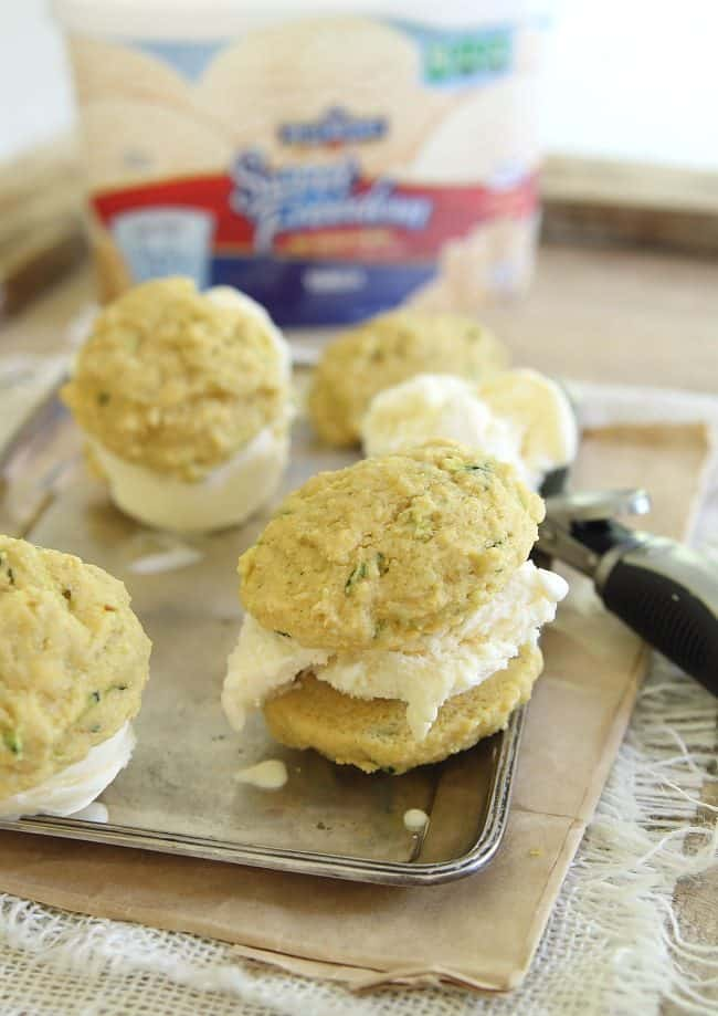 Lemon zucchini cookie ice cream sandwich