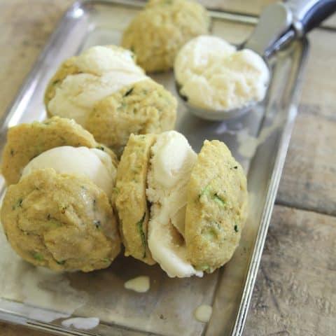 Lemon Zucchini Cookie Ice Cream Sandwiches