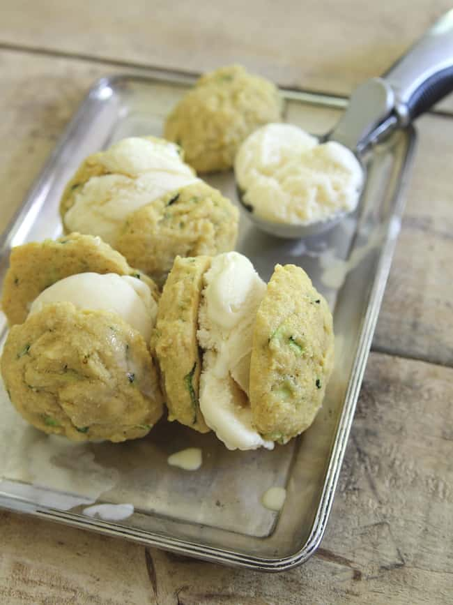 Lemon Zucchini Cookie Ice Cream Sandwiches