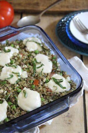 Meaty pesto quinoa bake