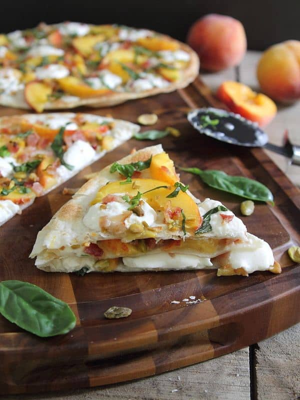 Peach burrata bacon open faced quesadilla with basil