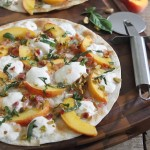 Peach burrata bacon quesadilla